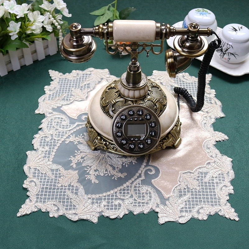 Luxury European Delicate Embroidery Stitching Lace Square Placemat Coffee Cup Pad Furniture Antique Decorative Mat Fruit Coaster