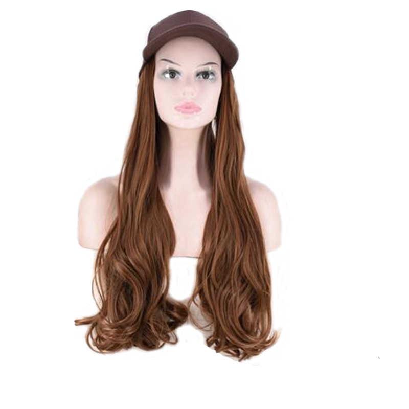 VREUGDE & BEAUTY 24 Inch Lange Golvende Pruik Baseball Cap En Hair Extensions Zwart Bruin Synthetisch Haar Integreren Cap Voor meisje Party Pruik