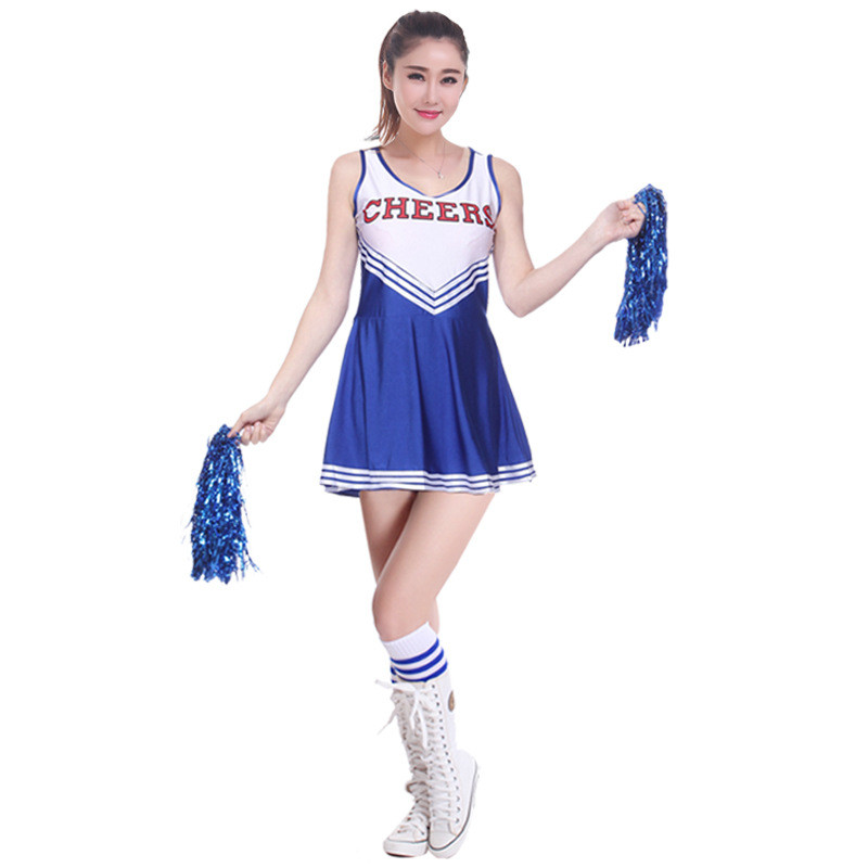 Sexy Sport Cheerleader Costume High School Girl Cheerleader Uniform Basketball Game Team Show Women Dress