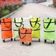 Chariot de Shopping avec roues, pour les articles de marchandise, chariot de épicerie repliable, sac de Shopping Portable pour la maison