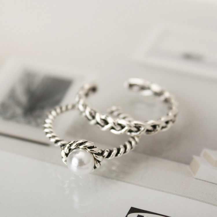 Nouveaux anneaux Antique argent plaqué simulé perle bande anneau ensemble anneaux pour femmes bijoux de noël bague en argent en gros