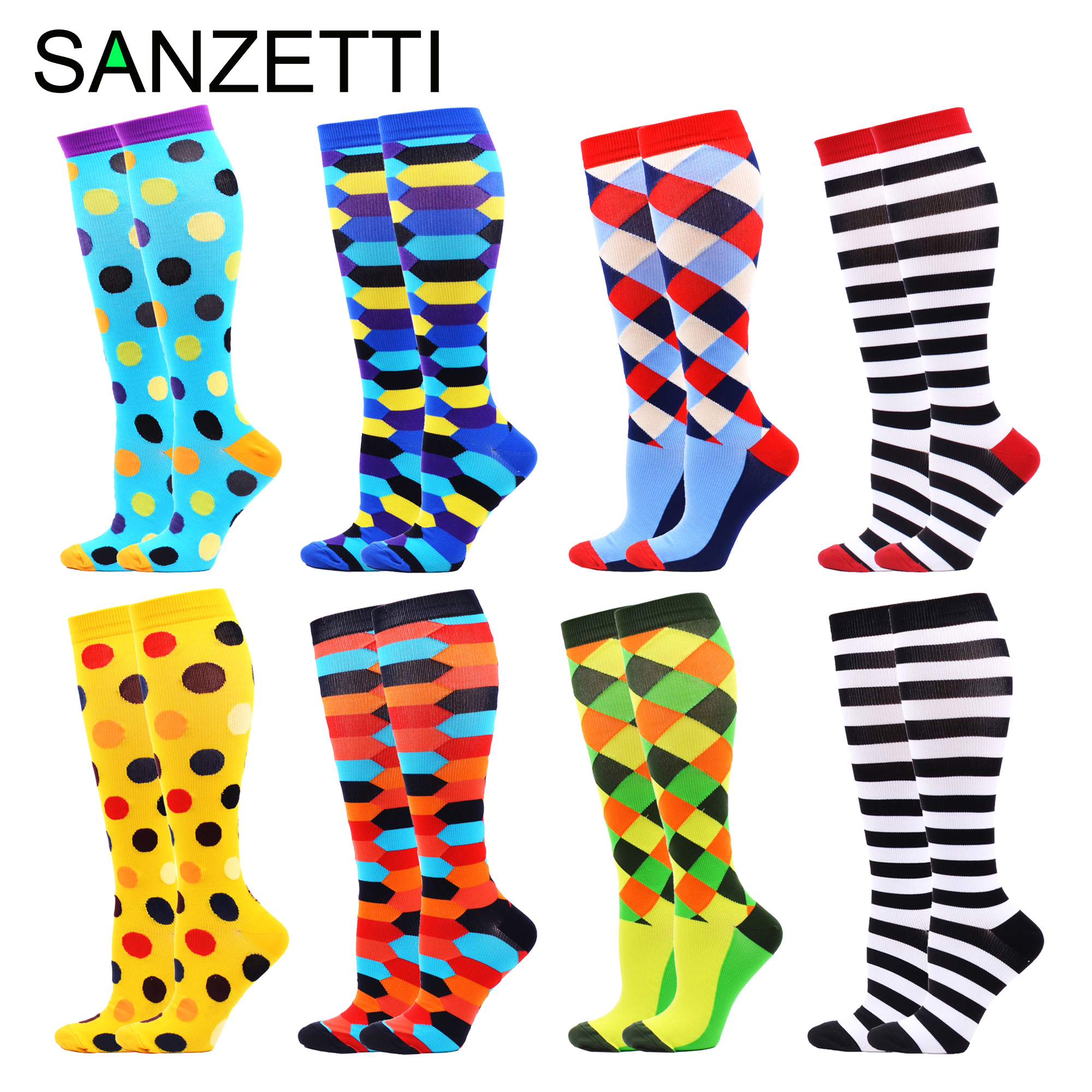 SANZETTI 8 Pairs Women's Colorful Stripe Leg Support Stretch Cotton Compression Socks Below Knee Anti-Fatigue Happy Sport Socks