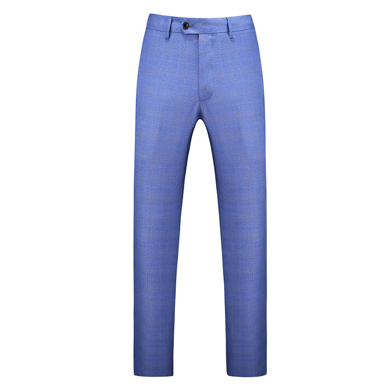 Gwenhwayfar, мужские синие клетчатые брюки, деловой костюм, брюки, деловые повседневные облегающие брюки, Классический Клетчатый костюм, брюки для свадьбы - Цвет: sky blue plaid