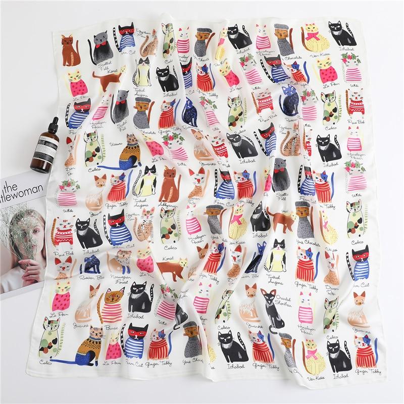 2020 Fashion Silk Scarf Women Neck Wraps Large Square Hijab Scarves Foulard Bandana Cat Print Shawls Pashmina Headband