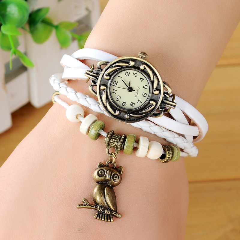 2019 Fashion Watch Elegant Vintage Owl Pendant Women Watches Imitation Leather Wooden Beads relogio feminino Wrist Watch Women
