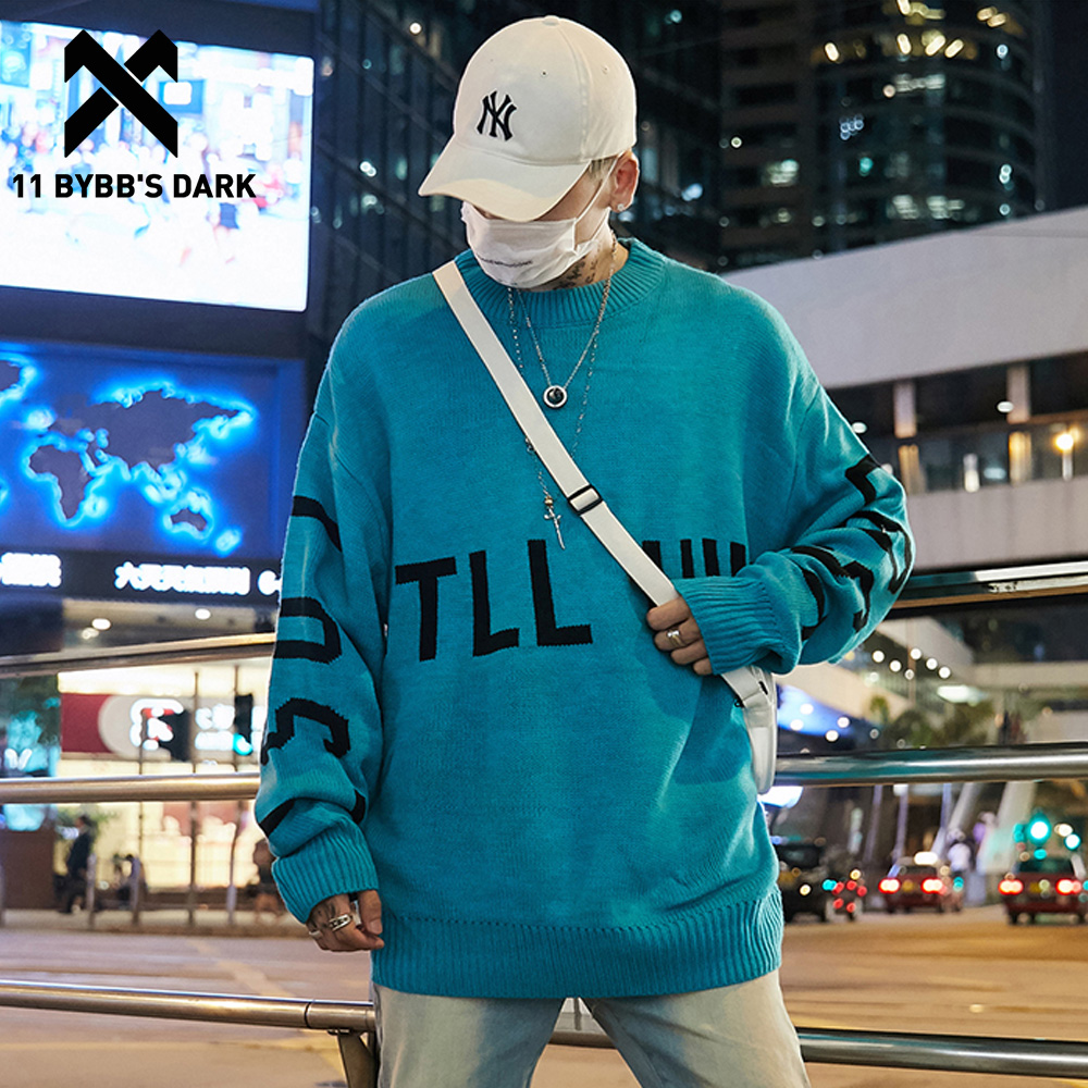 11 BYBB'S DARK Letter Printed Mens Knitted Sweaters 2019 Harajuku Hip Hop Pullover Long Sleeve Outwear Casual Couple Streetwear