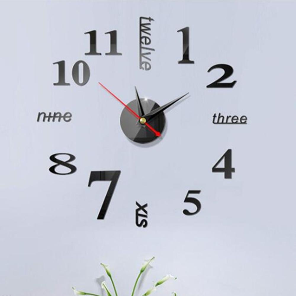 2019 New Clock Watch Wall Clocks Horloge 3d Diy Acrylic Mirror Stickers Home Decoration Living Room Quartz Needle
