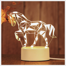 Desk-Lamp Table-light USB 3D Romantic Night Light Horse Print Bedroom Lamp Birthday Gift Christmas Present Home Decoration(China)