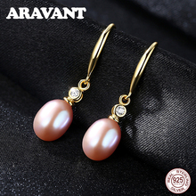 Natural Freshwater Pearl Drop Earrings For Women 925 Sterling Silver Earring Fashion Pearl Jewelry 3 Colors цена