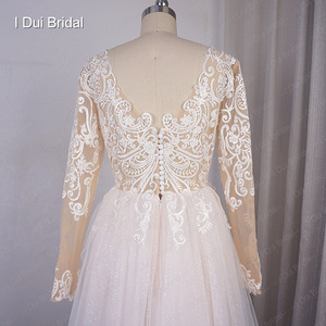 Image 4 - Long Sleeve V Neck Shinny Wedding Dress With Sparkle Tulle Lace Appliqued Floor Long Dancing Bridal Gown 2020 New Design