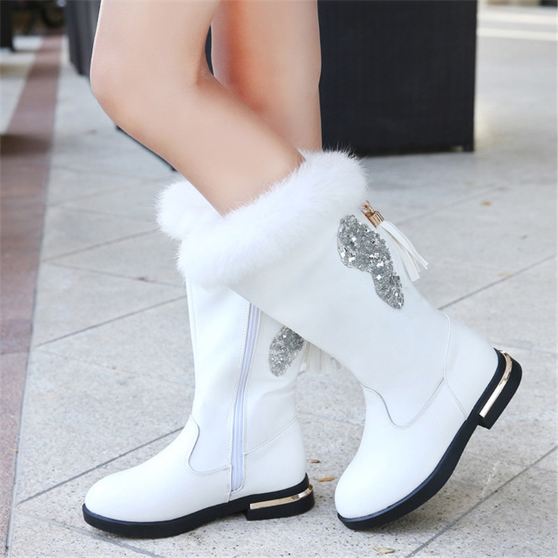 Girls High Boots Princess Elegent Fashion Over Knee Boots With Sweet Tassel Pendant Decoration Warm Rabbit Fur Round Shoes