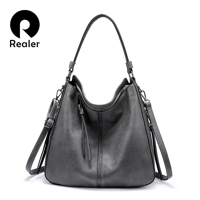 REALER Women Handbags Classic Shoulder Crossbody Bag Female Casual Large Capacity Totes High Quality Ladies Hobos Messenger Bags