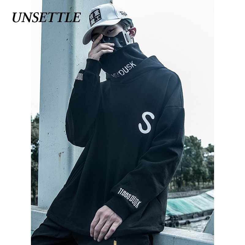 UNSETTLE Turtleneck Fleece Pullover Men Japanese  Hoodies Oversize Streetwear Sweatshirts Hip Hop Harajuku Male High Neck  Tops