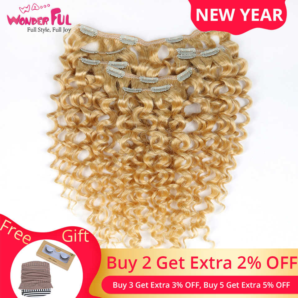 Wa... maravilloso Clip de 24 pulgadas en extensiones de cabello humano extensión de cabello rizado pinza de cabello humano en extensiones 7 Uds Clip