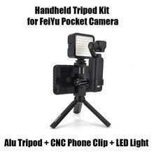 Handheld Treppiedi Kit Staffa di Alluminio con Clip di Supporto per Telefono e Luci A LED Accessori di Espansione Per FeiYu Tasca Giunto Cardanico Della Macchina Fotografica