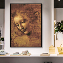 Leonardo DA VINCI woman's head Giclee Oil Painting on Canvas Posters and Prints Cuadros Wall Art Pictures For Living Room leonardo da vinci thoughts on art and life