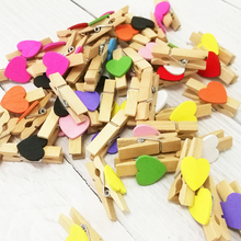 DIY Heart-Shaped Wooden Lovely Small Wooden Clip Ins Style Decorative Photo Wall 3.5cm Home Message Note Clip creative new style blessing xuyuan heart shape small card message birthday gift diy heart shaped