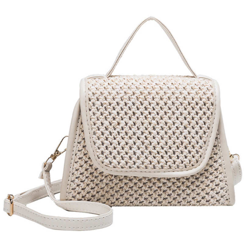 New Summer Small Square Bag Straw Small Bag Shoulder Slung Handbag Creamy-White