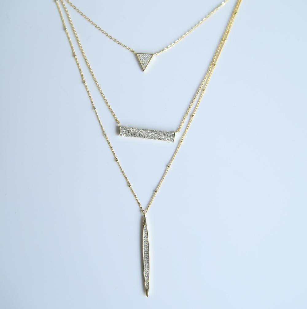 <font><b>High</b></font> quality <font><b>2017</b></font> luxury fine 925 sterling silver bling sparking bar triangle pendant women three layer <font><b>sexy</b></font> jewelry necklace image