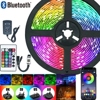 Tira de luces LED RGB 5050 2835, cinta de lámpara Flexible con diodo DC 12V 5M 10M 32,8 pies, luces de Navidad
