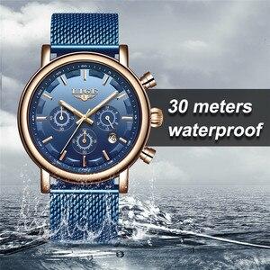 Часы наручные LIGE Мужские кварцевые, брендовые Роскошные модные водонепроницаемые повседневные спортивные, из нержавеющей стали