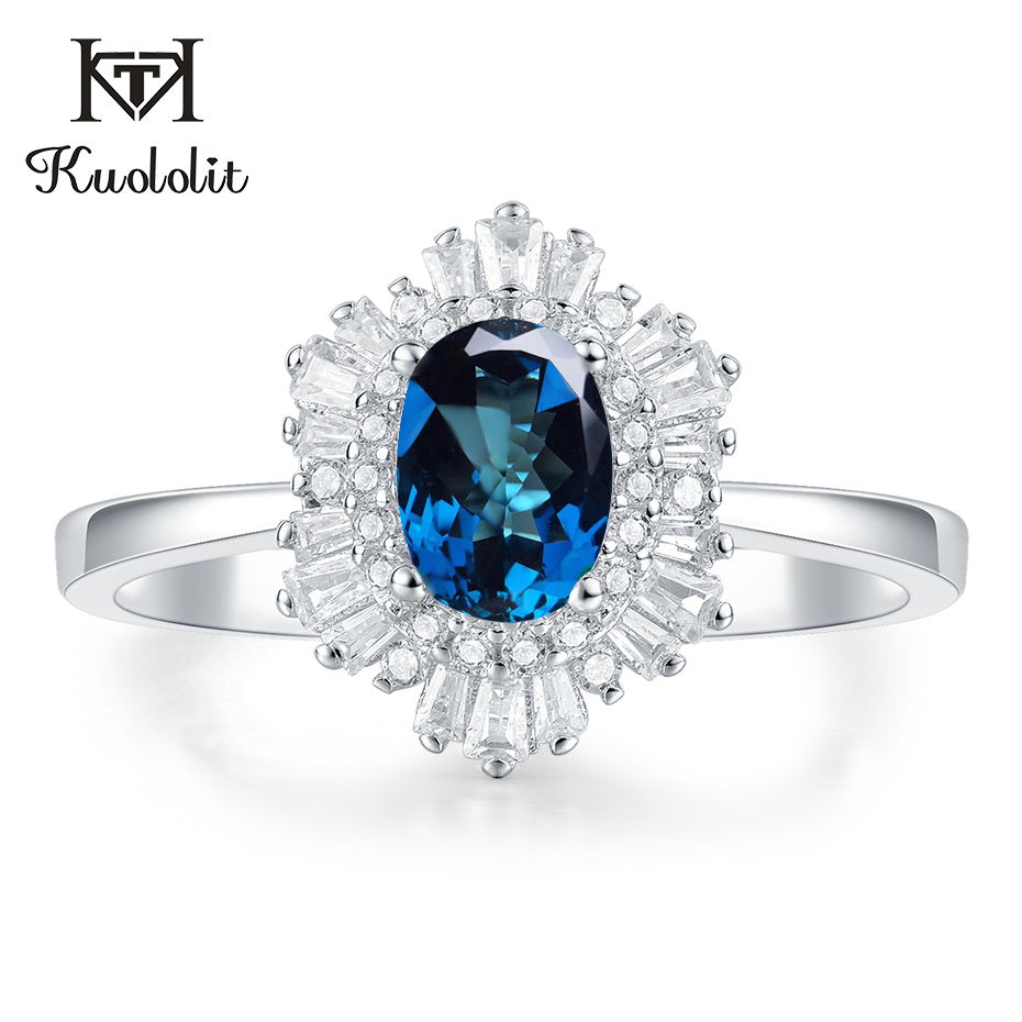 Natural Gemstone Solid Silver Ring,Women Jewelry Blue Topaz Ring Handmade Faceted Blue Topaz Iolite Ring 925 Sterling Silver Ring