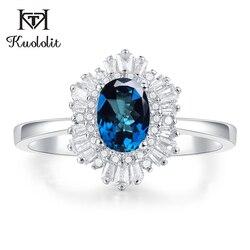 Женское кольцо с голубым топазом Kuololit, серебряное кольцо с шестиугольной верхушкой, ювелирное изделие для помолвки невесты, ювелирное изде...