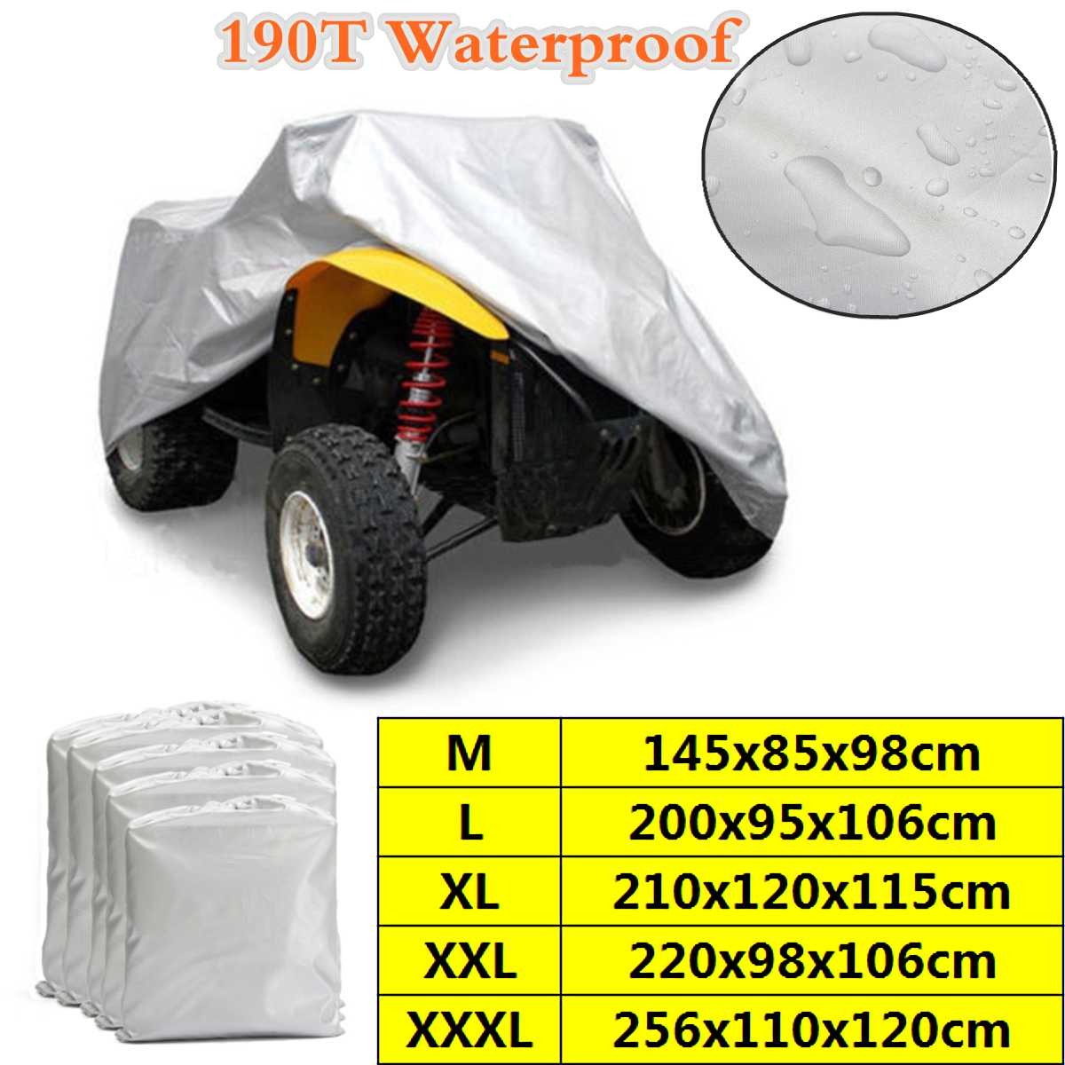 M-XXXL 190T ATV Cover Waterproof Anti-UV Quad ATV Vehicle Scooter Motorbike Car Clothing Sun Cover Rain Cover