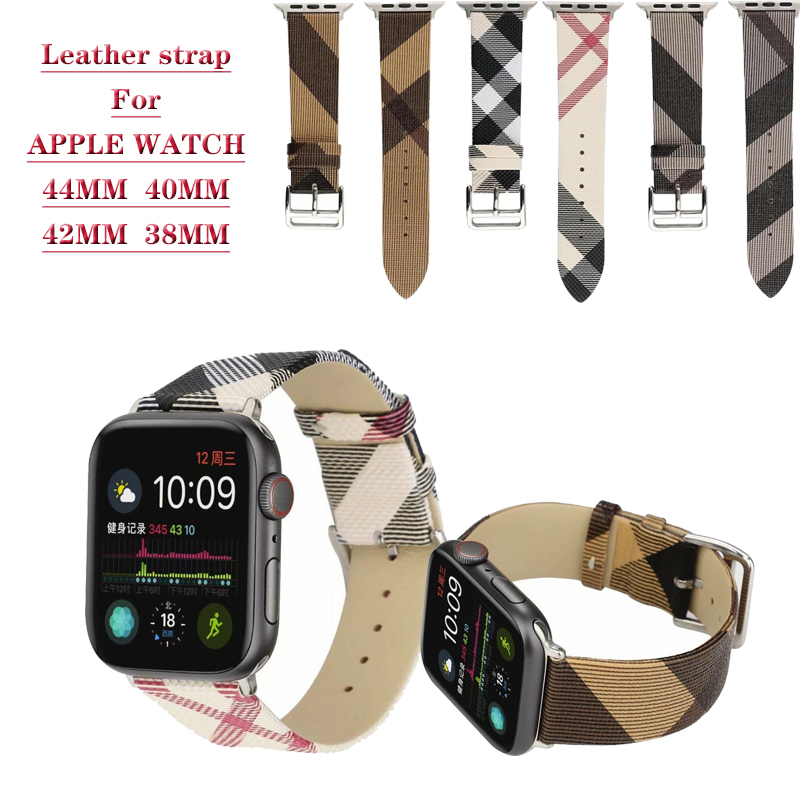 Plaid Pattern Leather Bracelet Strap For Apple Watch 5 4 44/40MM Leather Strap For IWatch Series 3 2 1 42/38MM Watches Wristband
