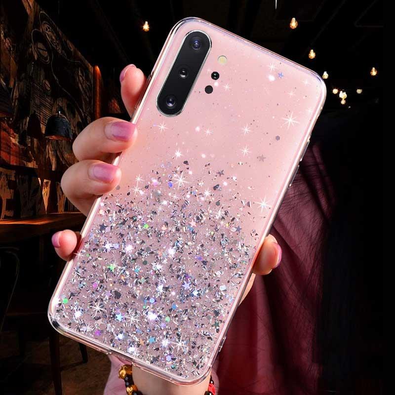 Luxury Glitter Star Case For Samsung Galaxy A70 A50 A10 A20 A30 A60 A80 A90 A20S A10S A20E Note 10 9 8 S10 S9 S8 Plus S10E Cover - Цвет: Pink