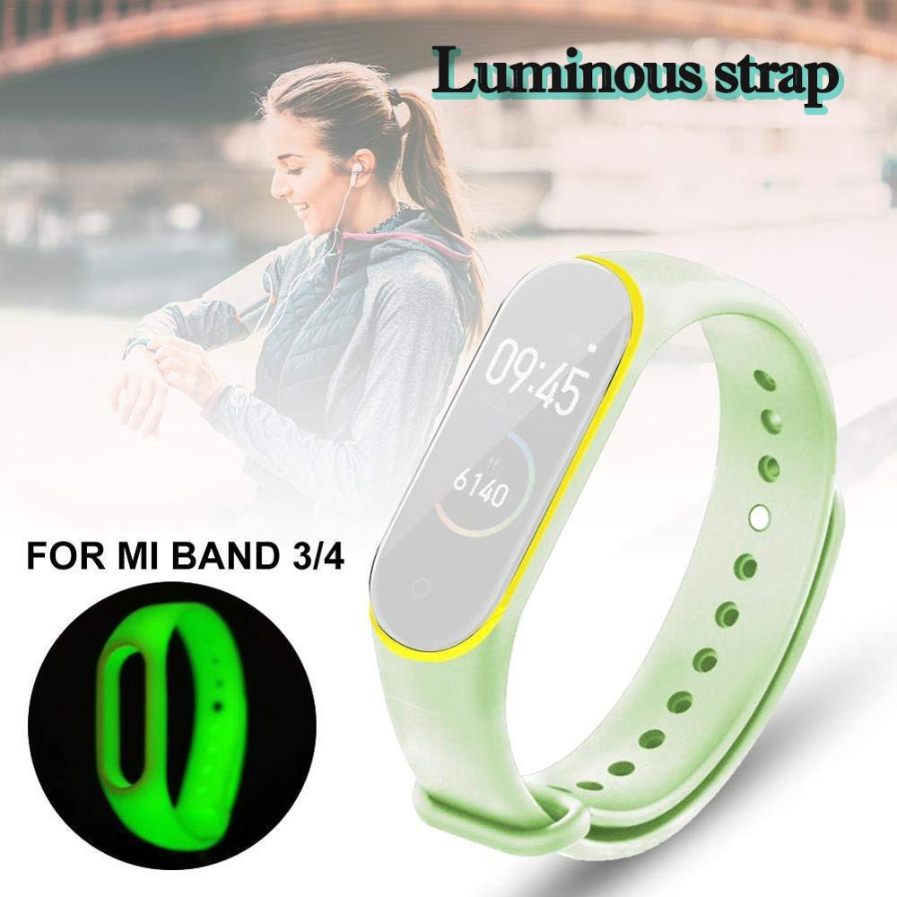 Luminous Bracelet For Xiaomi Mi Band 3 4 Sport Strap Watch Silicone Wrist Strap For Xiaomi Mi Band 3 4 Bracelet Miband 4 3 Strap