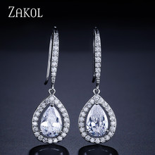 FEILANG Factory Price Women Trendy white Gold Plated Water Drop Shape Swiss Cubic Zirconia Diamond Dangle Earrings (FSEP331)