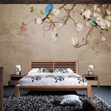 Diantu-papier peint personnalisé avec des fleurs et des oiseaux