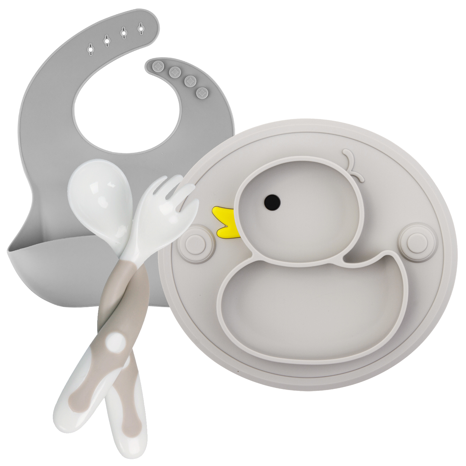 6.06US $ 54% OFF Baby Silicone Plate Set Self Feeding Antislip Saucer Suction Children's Tableware S...