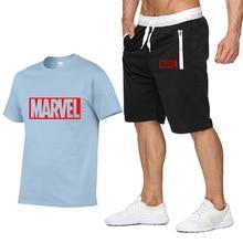 Устанавливает новый летний новый распродажа Мужские футболки футболки+шорты из двух частей наборы повседневный костюм Марвел бренд футболка тренажерные залы фитнес-комплекс Sportswears