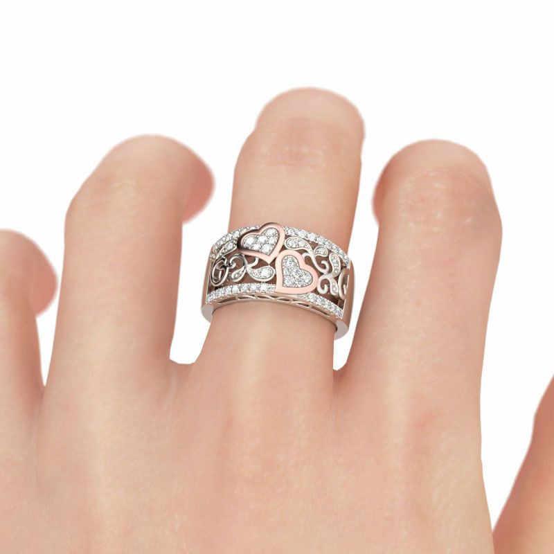 แฟชั่นการออกแบบเครื่องประดับวงแหวนหัวใจผู้หญิง Rose Gold สี CZ หญิงแหวนนิ้วรักของขวัญ DROP การจัดส่ง