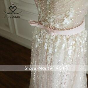 Image 3 - Boho rosa frisado apliques vestido de casamento 2020 swanskirt luxo lantejoulas tule princesa tribunal trem vestido de noiva robe de mariee a249