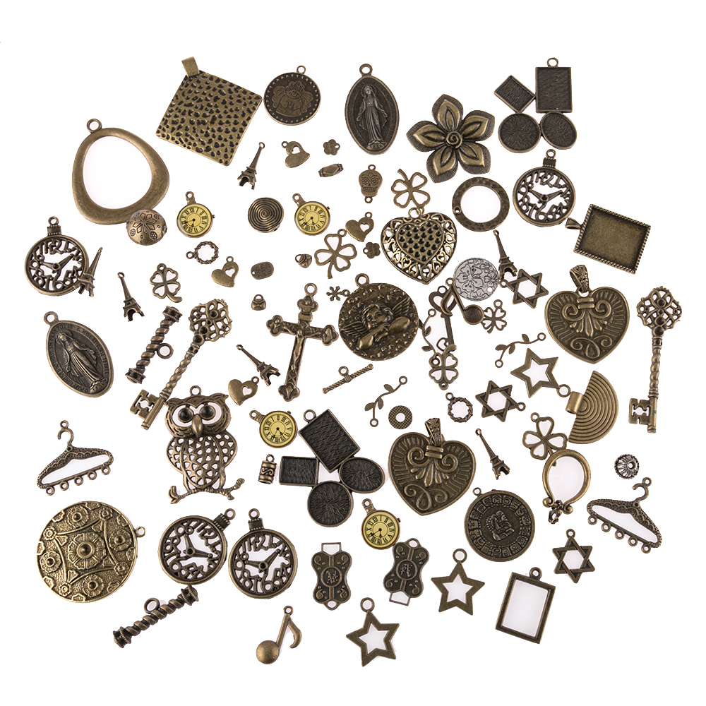 30g Bronze Color Watch Face Star Alloy Charms Pendant Mixed Style For Jewelry Making DIY Handmade Necklace Accessories