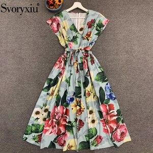 Женское винтажное платье Svoryxiu, платье средней длины без рукавов с бантом на ремне и цветочным принтом на лето