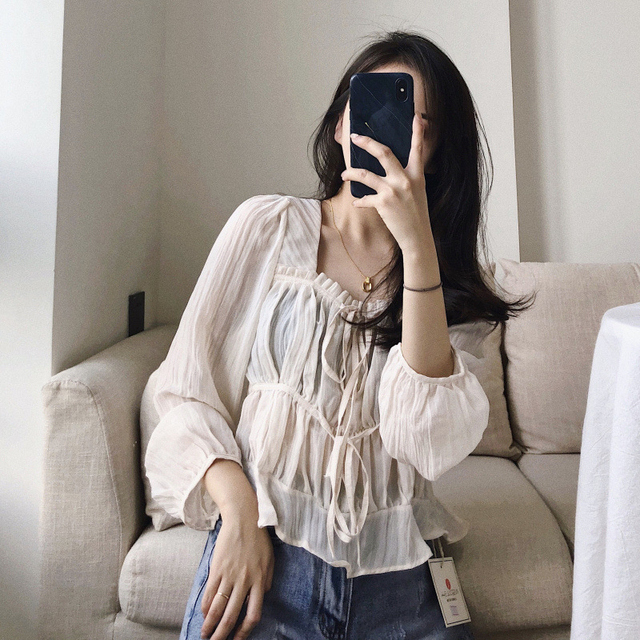2021 spring and autumn good quality French square collar folds ruffled thin long-sleeved chiffon shirt blouse women рубашка топ 3