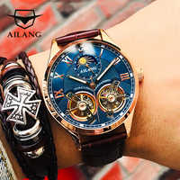 AILANG Marca original 2019 doble Tourbillon reloj masculino mecánico automático último diseño reloj doble volante para hombre reloj mecánico automático moda casual hombre de negocios Luminosa impermeable Reloj