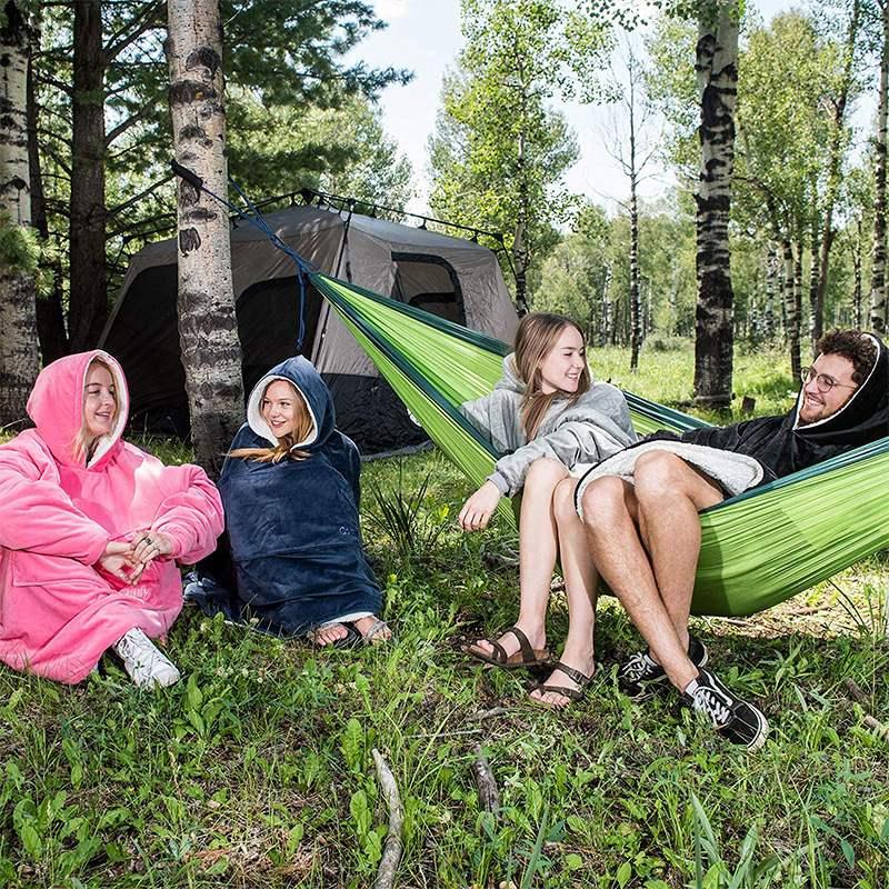 Winter Sherpa Blanket With Sleeve Ultra Plush Blanket Hoodie Pink Grey Wine Blue Warm Flannel Hooded Blankets-2