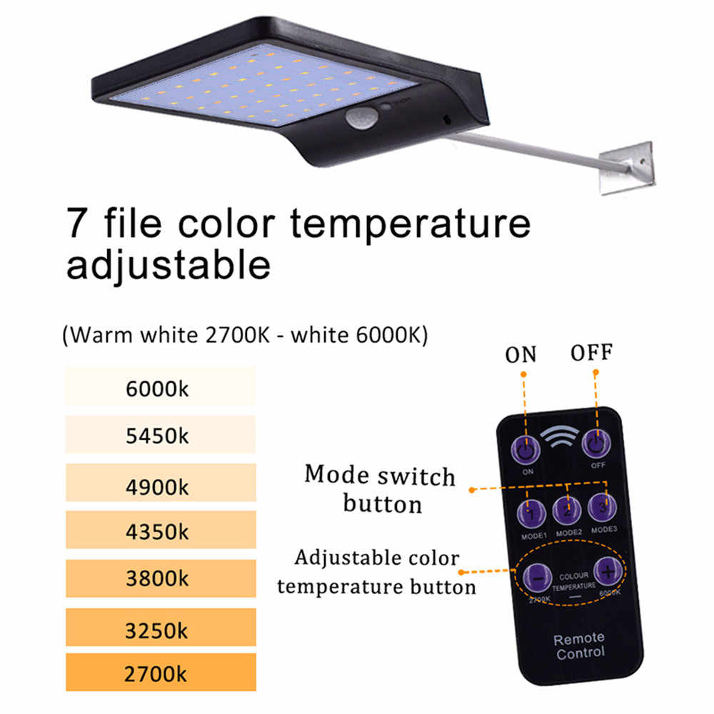 48 ไฟ LED พลังงานแสงอาทิตย์ 450LM LED โคมไฟ PIR SENSOR Motion 4 โหมดฉุกเฉินไฟเสาปรับสำหรับ Garden กลางแจ้ง Lighti
