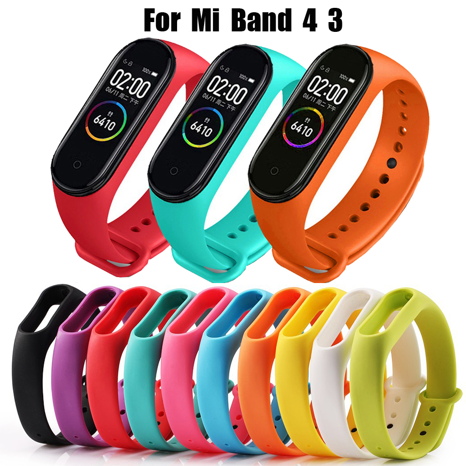 Mi Band 3 4 Strap Sport Silicone Watch Wrist Bracelet Strap For Xiaomi Mi Band 3 4 Smart Bracelet Miband 4 3 Strap