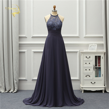 Jeanne Love Lace Long Evening Dress Halter Open Back Prom Gowns Navy Blue Robe De Soiree Vestido De Festa purple lace details open back halter pajama dress with t back