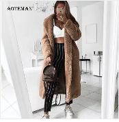 Autumn Winter Coat Women 2019 Fashion Vintage Slim Double Breasted Jackets Female Elegant Long Warm White Coat casaco feminino 35