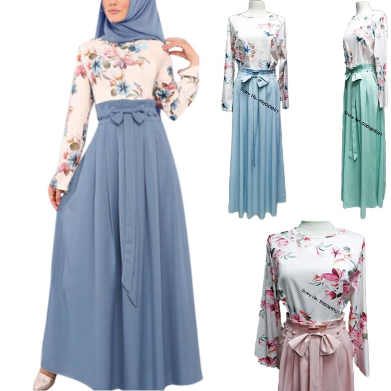 Dubai Abayas Muslim Dress Islamic Clothes Turkey Eid Fashion Floral Printed Long Sleeve Prayer Maxi Dress For Women Vestidos