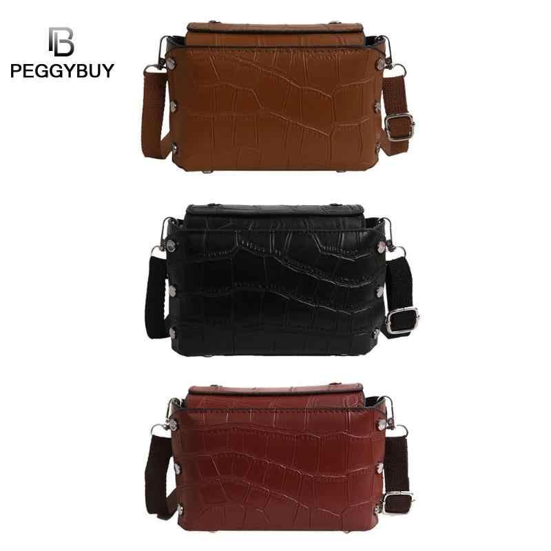 Mini PU Leather Women Bag Fashion Crocodile Shoulder Bag Designer Brand Ladies Purses Women PU Leather Retro Rivet Handbag