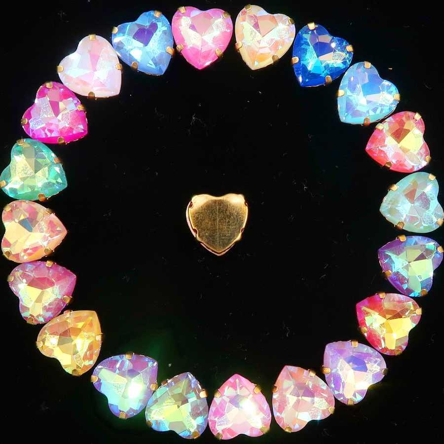 20 pcs/p gold claw การตั้งค่า jelly candy & AB คริสตัลคริสตัล 10 มม.รูปหัวใจเย็บบน rhinestone ลูกปัดรองเท้ากระเป๋าหัตถกรรม diy trim