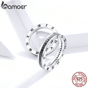 Bamoer 925 Sterling Silver Couple Ring Roman Numerals Time Round Stackable Finger Rings For Couple Gift Men And Women SCR610